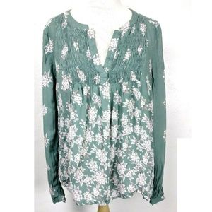 Lucky Brand Sage Floral Smocked Blouse